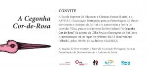 Convite para o lançamento do livro 'A cegonha cor-de-rosa', dia 15/11, 16h, Auditório 1 da ESECS.